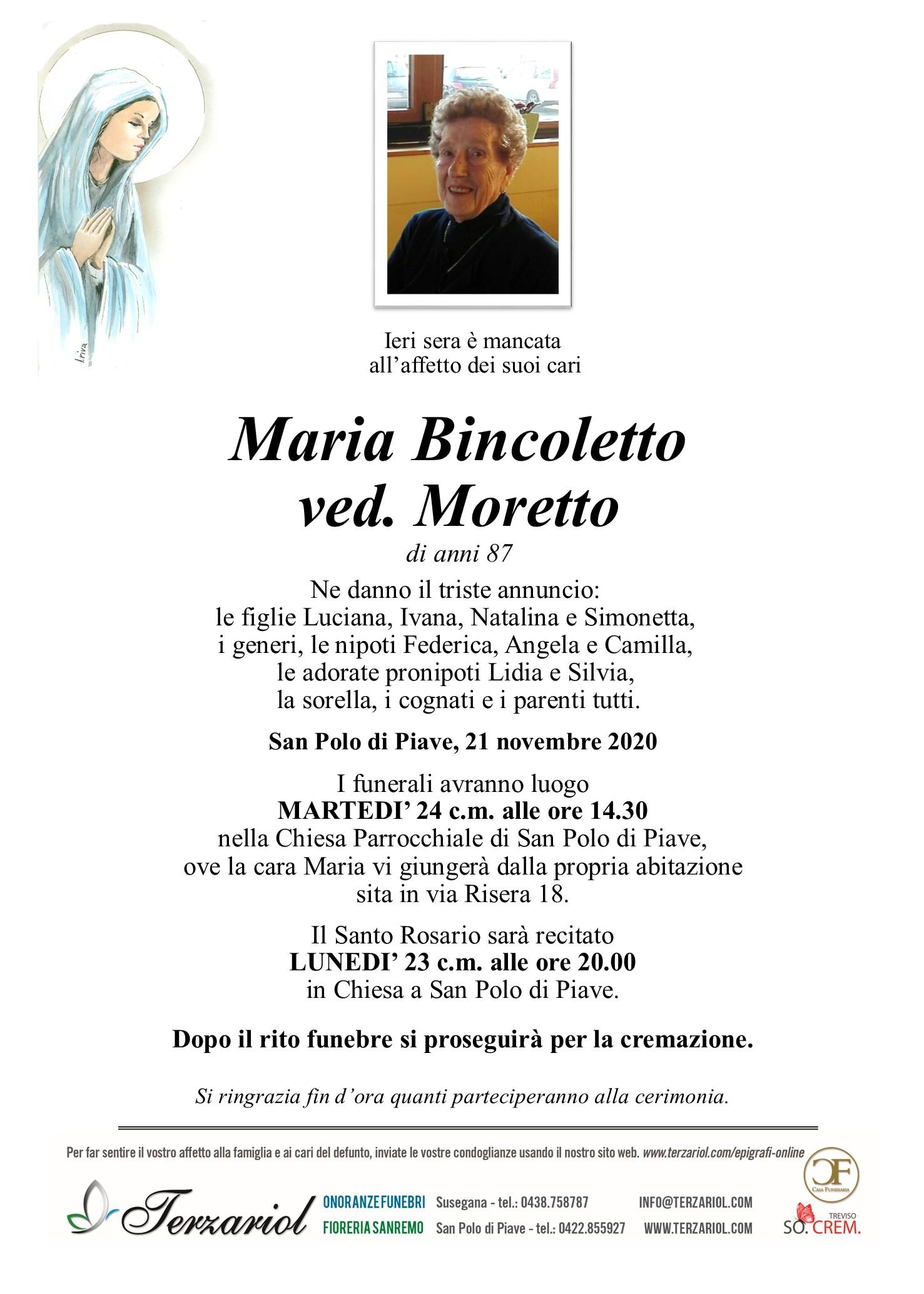 Epigrafe Bincoletto Maria